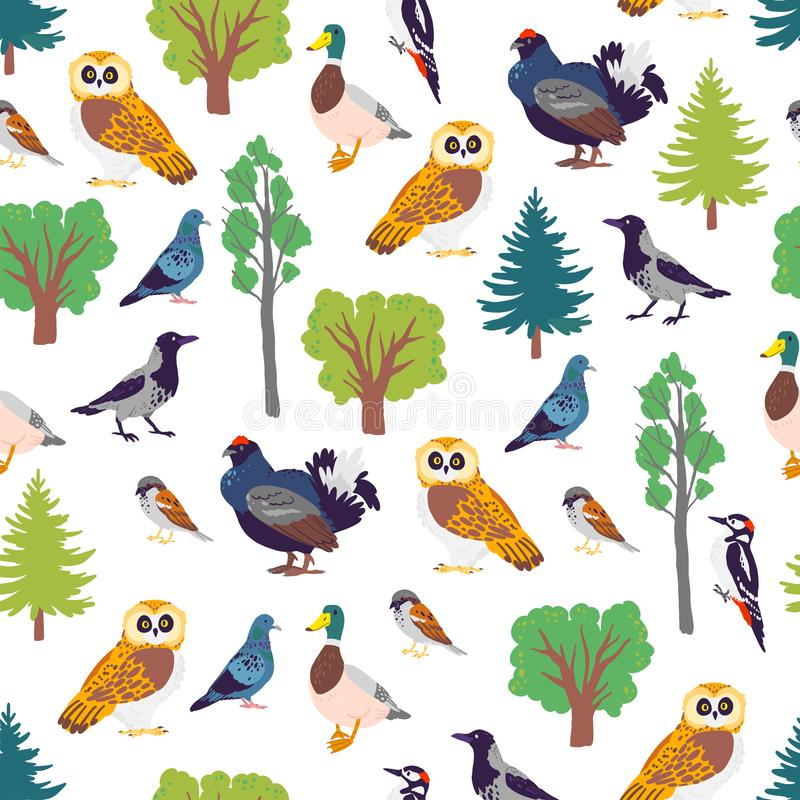Vector flat seamless pattern with hand drawn forest birds and floral wild nature trees elements isolated on white background. Good for packaging paper, cards vector illustration