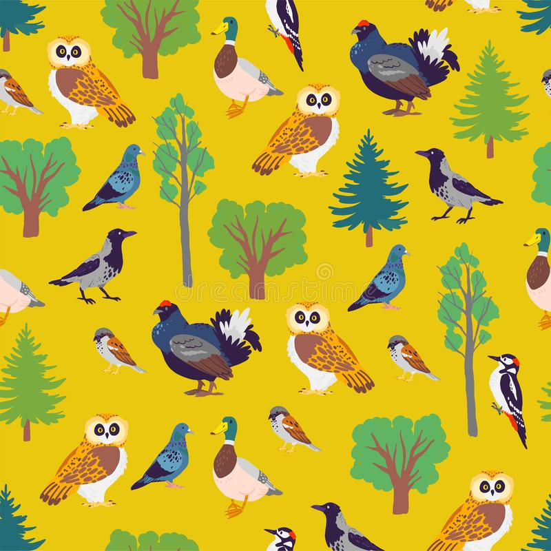Vector flat seamless pattern with hand drawn forest birds and floral wild nature trees elements isolated on yellow background. For packaging paper, cards vector illustration