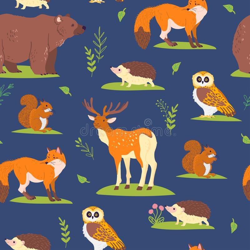 Vector flat seamless pattern with wild forest animals, birds and floral elements isolated on blue background. Owl, bear, fox. vector illustration
