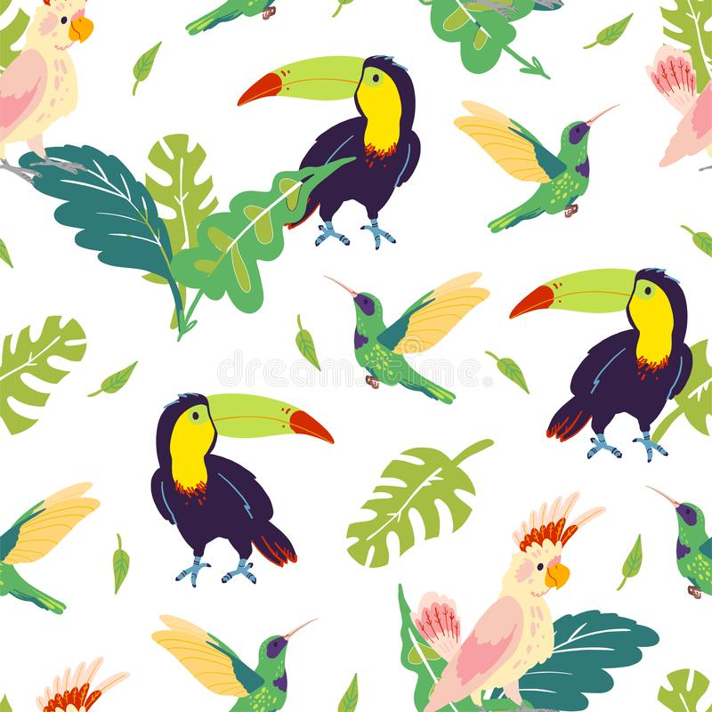 Vector flat tropical seamless pattern with hand drawn jungle monstera leaves, toucan, hummingbird, parrot birds isolated. stock illustration