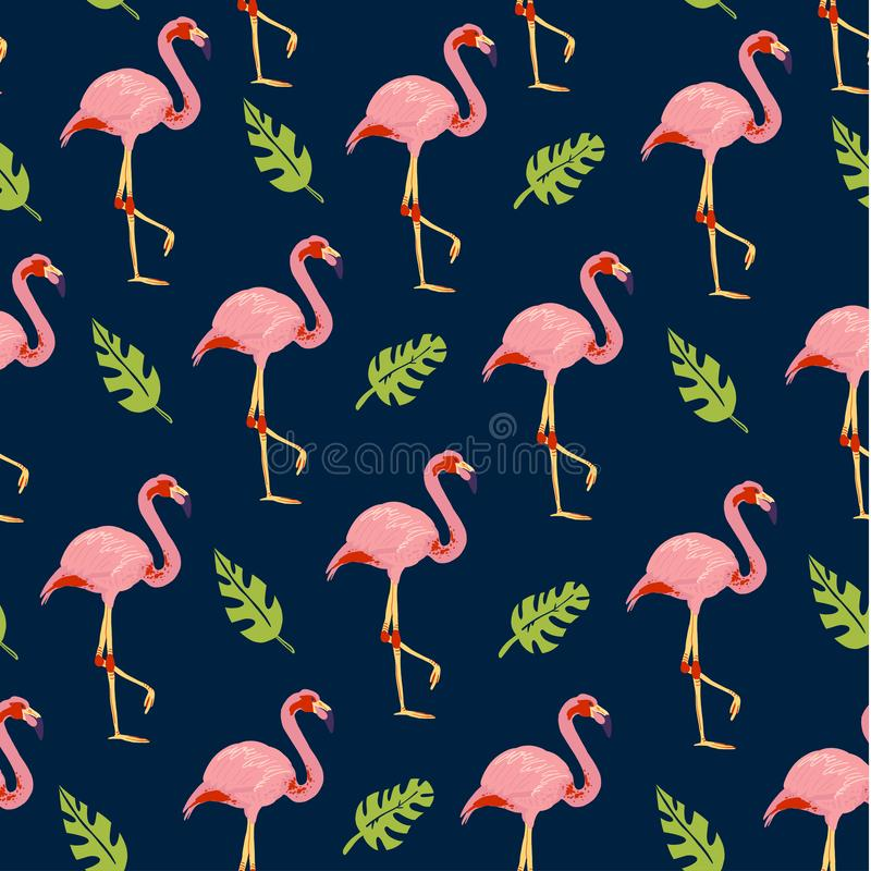 Vector flat tropical seamless pattern with hand drawn jungle monstera plants flamingo birds isolated on blue background. stock illustration