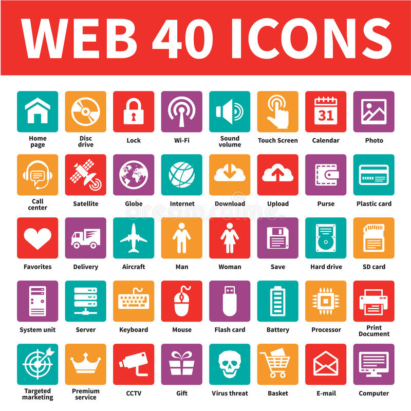 Download Web 40 Vector Icons stock vector. Illustration of content - 34807854