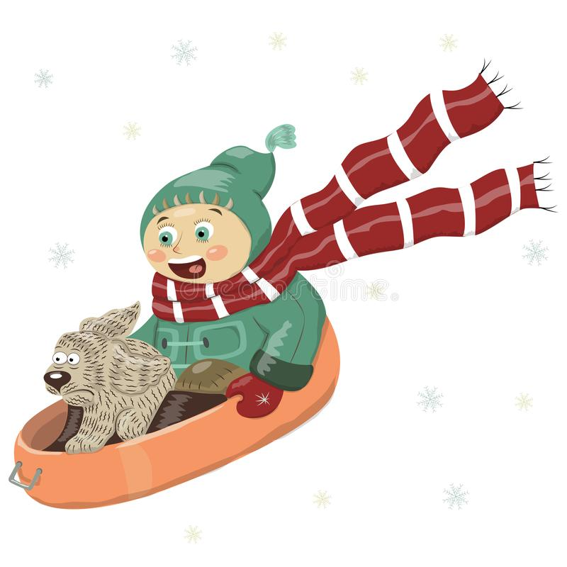 Vector illustration of a boy with a dog, riding down the hill on a sled, in winter clothes, coat, trousers, boots, hat, scarf, mit royalty free illustration