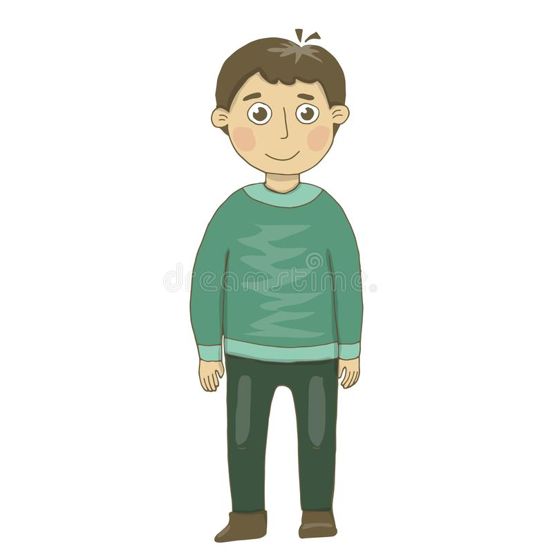 Vector illustration of a boy in green trousers and a green winter sweater. Cheerful, teenager, looks, smiles. Painting, postcard, stock illustration