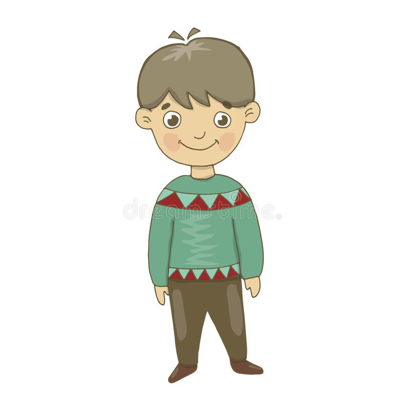 Vector illustration of a boy in brown trousers and green winter sweater. Cheerful, small, looks, smiles. Painting, postcard, winte stock illustration