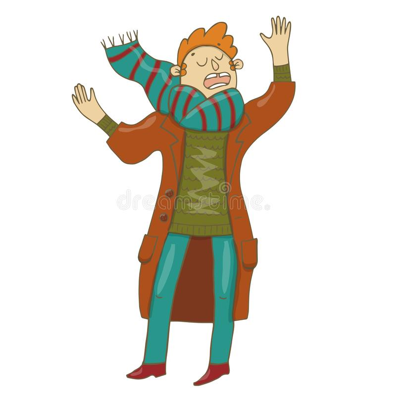 Vector illustration of a young poet reading poetry in a brown coat, bright, striped scarf, blue trousers, green sweater, Burgundy. Shoes. Gestures, closed eyes royalty free illustration