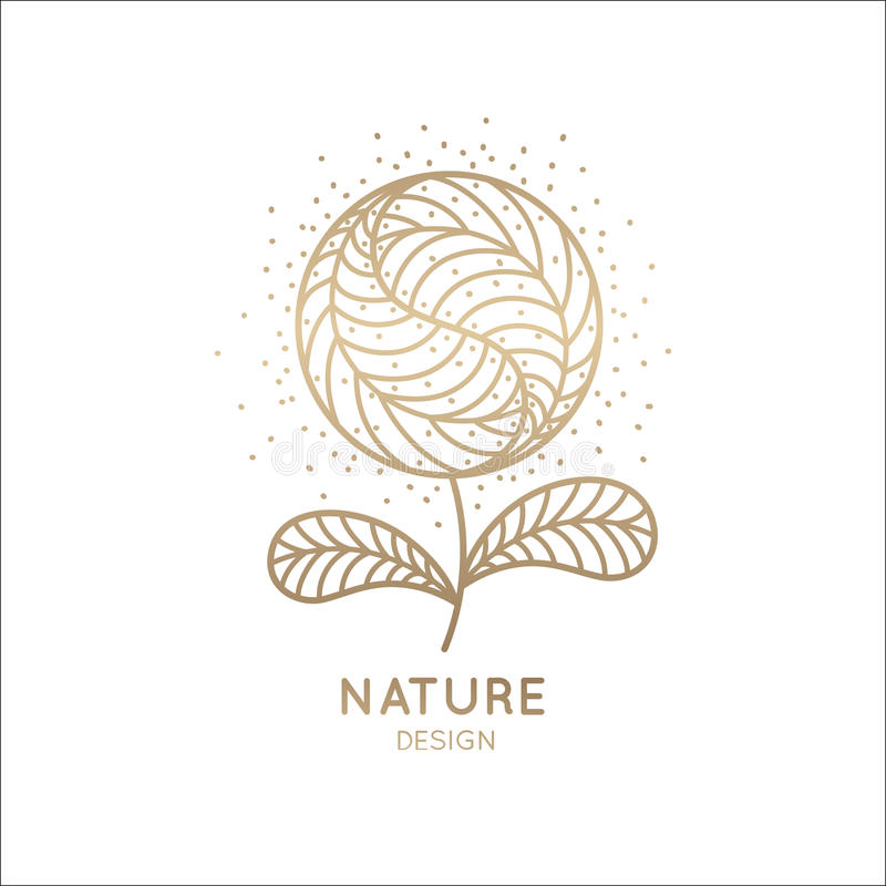 Web. Vector logo of floral element. Abstract round flower with petals. Linear emblem for design of natural products, flower shop, cosmetics and ecology concepts royalty free illustration