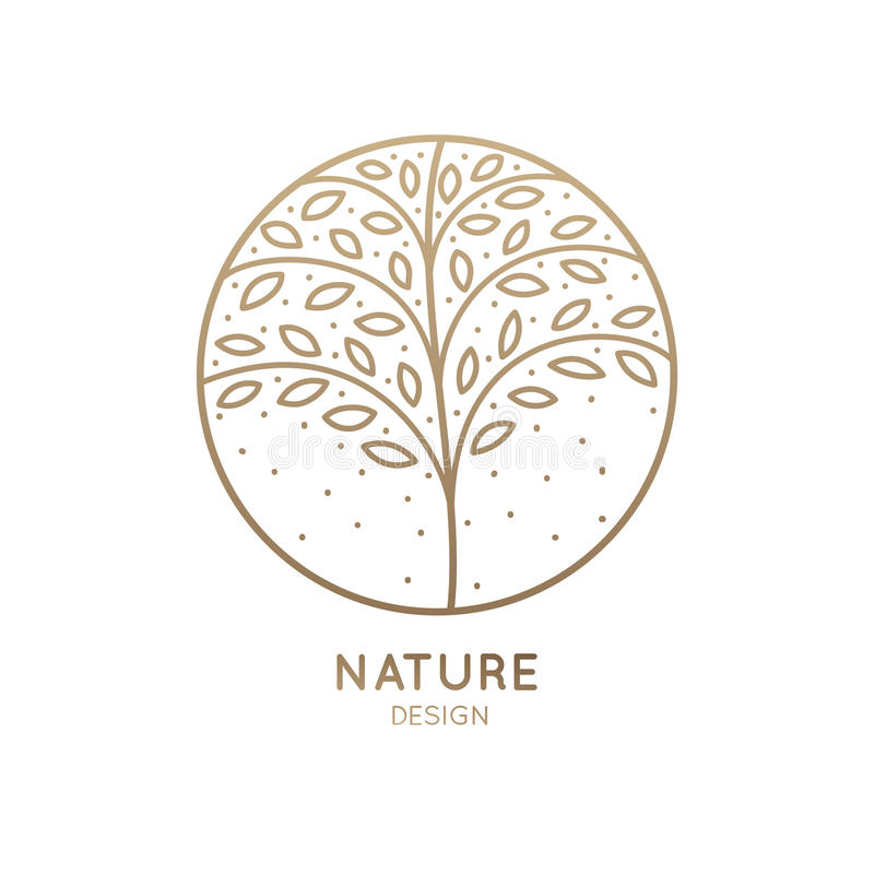 Web. Vector logo of floral element. Abstract tree with leafs in circle. Linear round emblem for design of natural products, flower shop, cosmetics and ecology royalty free illustration