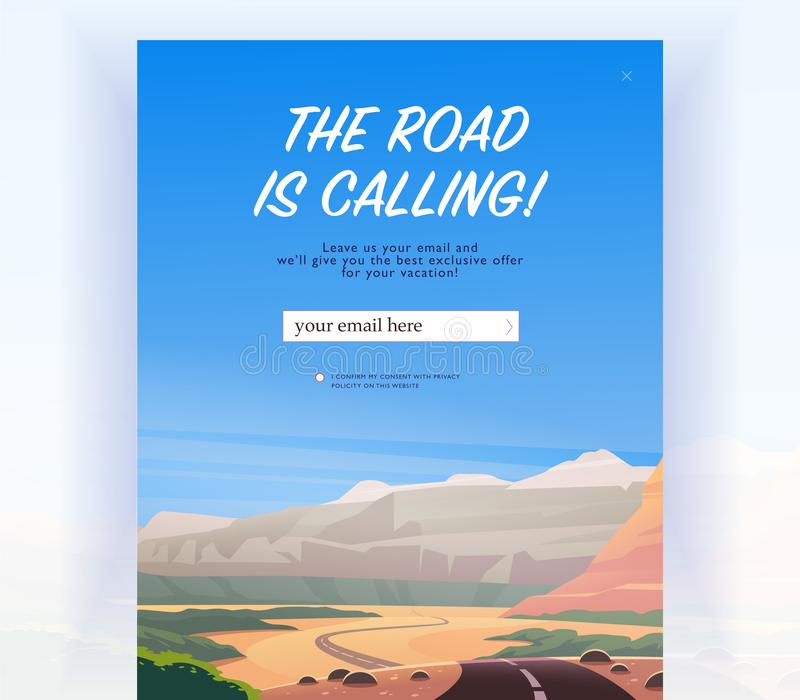 Vector squeeze page design template with beautiful flat canyon landscape illustration and email text box. Special offer season concept. For traveling firm and royalty free illustration