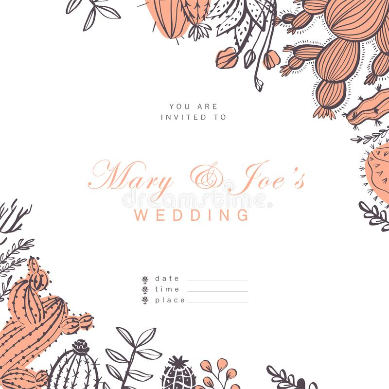 Vector wedding invitation, card, tag design template - text place, frame with cactus, branches, floral elements arrangements isola. Ted on white background. Hand royalty free illustration