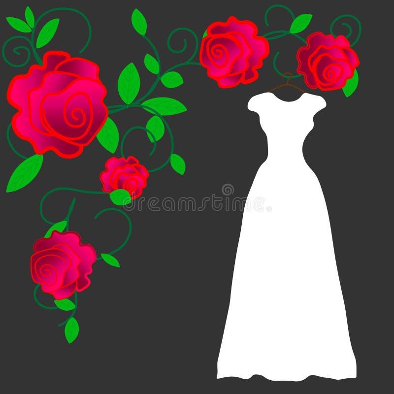web Vestido no vetor Roupa do desenho da mão vintage Forma ilustração stock