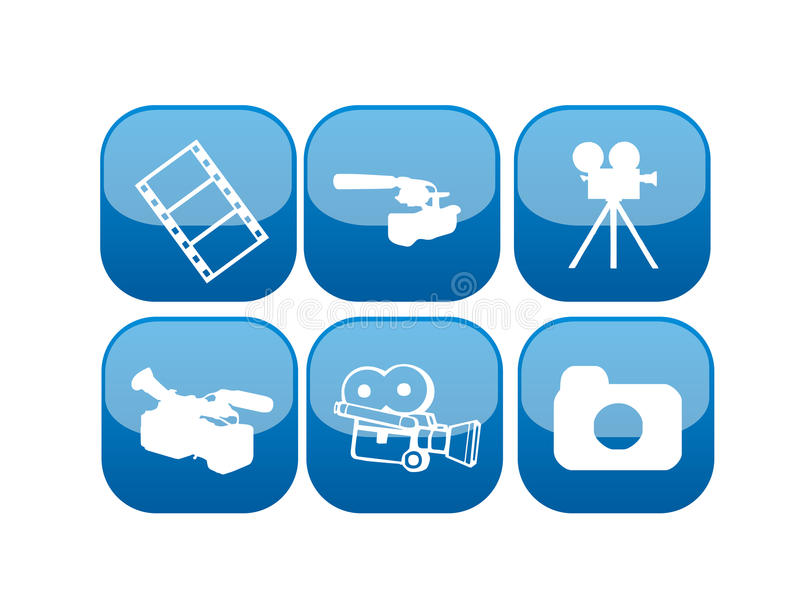 Web video and movie icon set. Vector illustration of different icons or buttons for web videos and movie editing