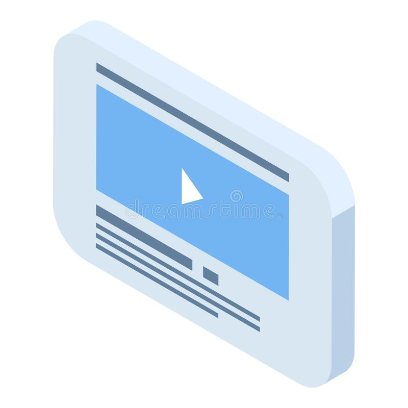 Web video play page icon, isometric style stock illustration