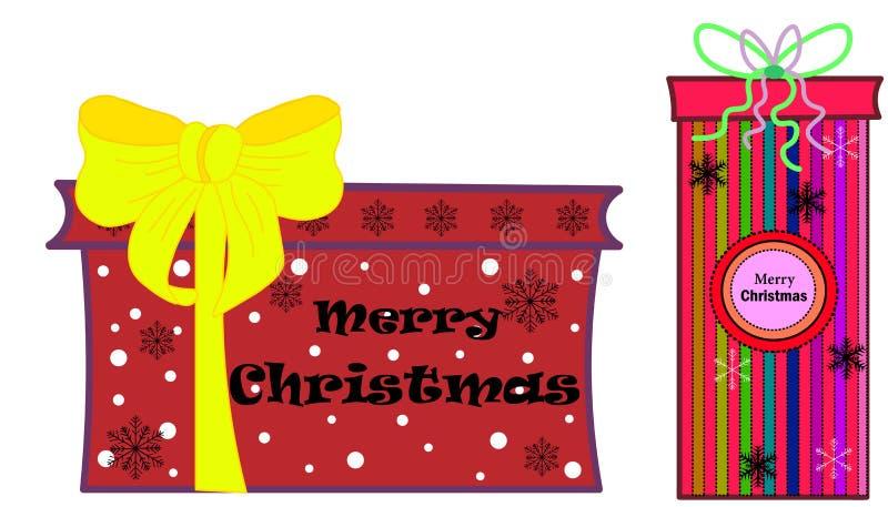 web Weihnachtszusammensetzung auf hölzernem Hintergrund Weihnachtsdekorationsentwurf, Kastengeschenk, Funkelnschneeflocke, Goldhe lizenzfreie abbildung