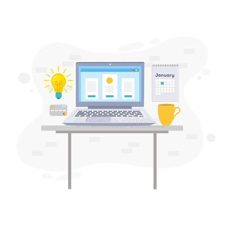 Workspace concept with devices. Workspace, analytics, optimization, management. Modern vector illustration concept, isolated on white background vector illustration