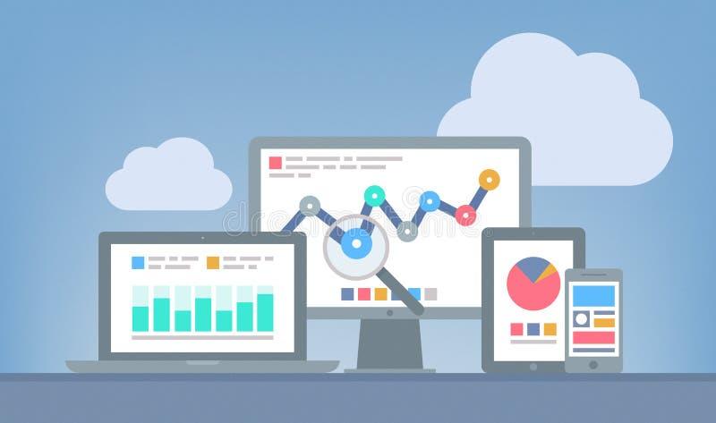 Web y concepto del analytics de SEO stock de ilustración