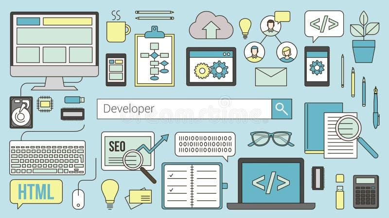 Web y desarrollador de software ilustración del vector