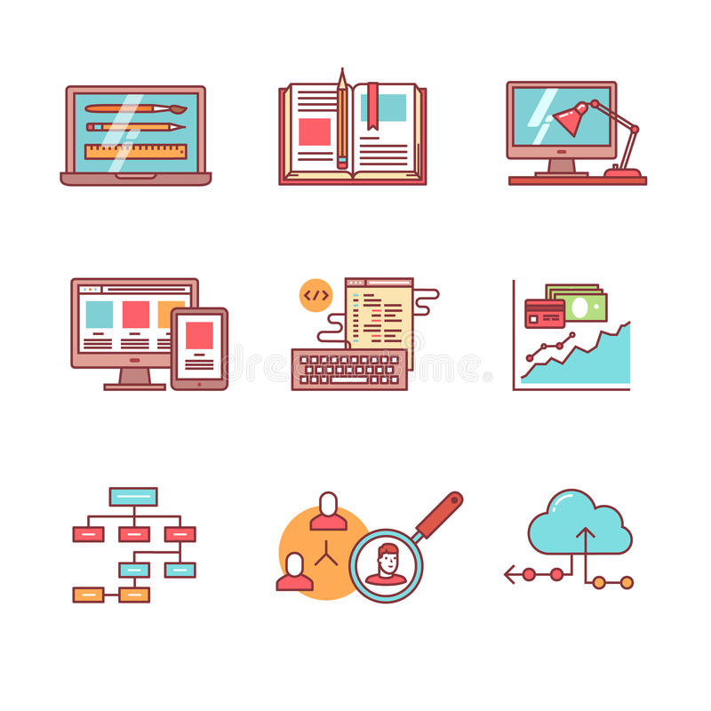 Web y desarrollo del app, iconos programados fijados ilustración del vector