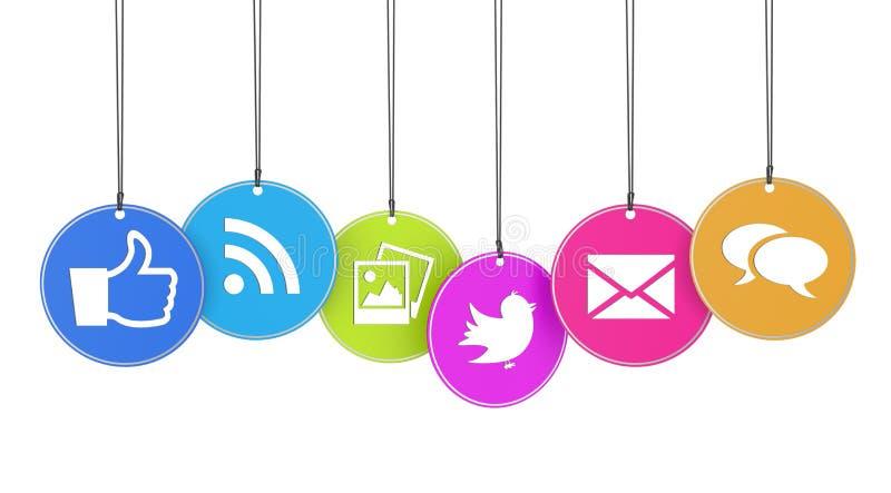Web y medios concepto social ilustración del vector