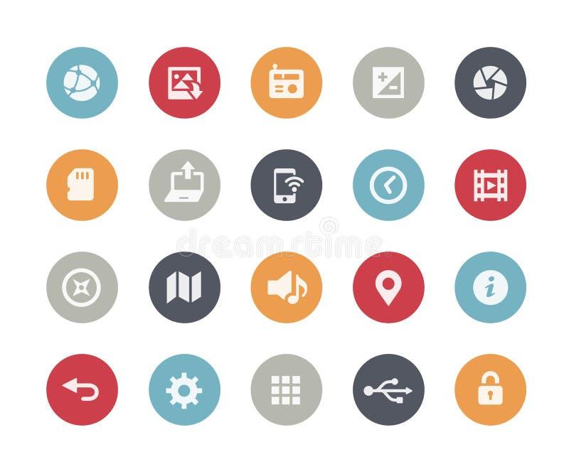 Web y obras clásicas móviles de Icons-5 // stock de ilustración