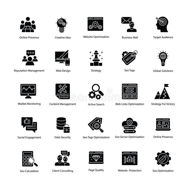 Web y Seo Glyph Vector Icons libre illustration