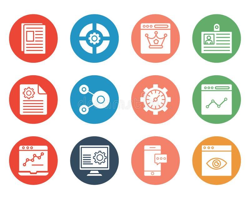 Web y SEO Isolated Vector Icons Set que se pueden modificar fácilmente o corrigen stock de ilustración