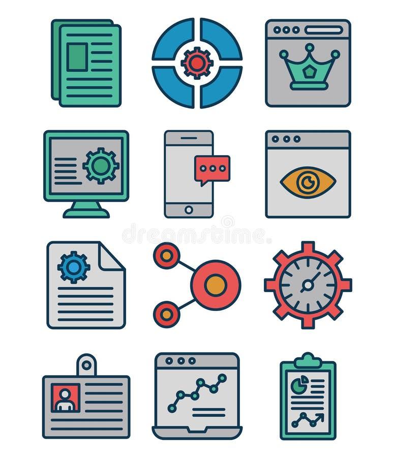 Web y SEO Isolated Vector Icons Set que se pueden modificar fácilmente o corrigen ilustración del vector
