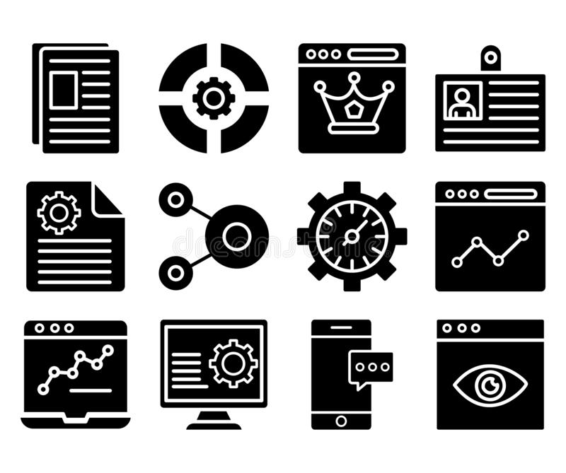 Web y SEO Isolated Vector Icons Set que se pueden modificar fácilmente o corrigen Web y SEO Isolated Vector Icons Set que pueden  stock de ilustración