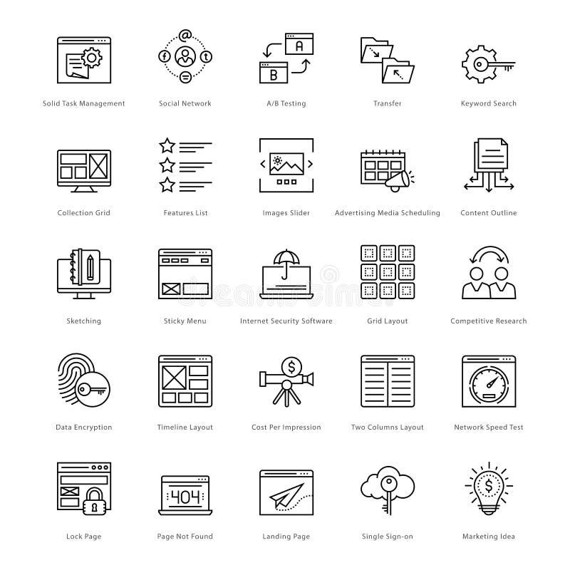 Web y SEO Line Vector Icons 33 ilustración del vector