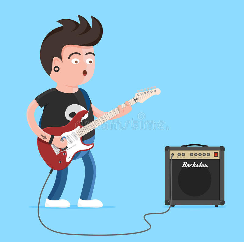 Young man character singing and playing the electric guitar. Punk rock star with guitar and amplifier. Vector illustration vector illustration