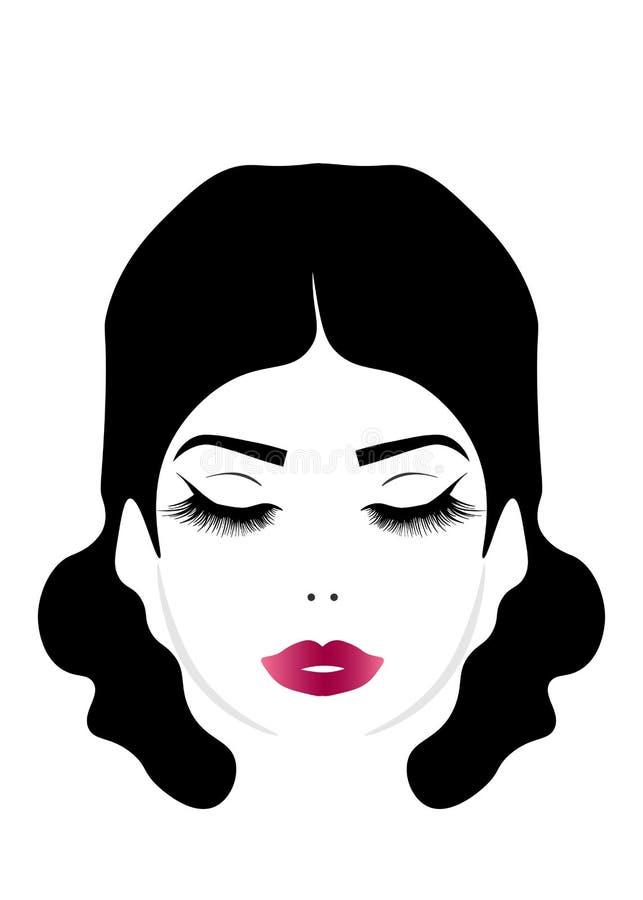 WebAbstract piękna dziewczyna z zamkniętym okiem i tęsk elegancki włosy, wektorowa ilustracja odizolowywająca na białym tle royalty ilustracja