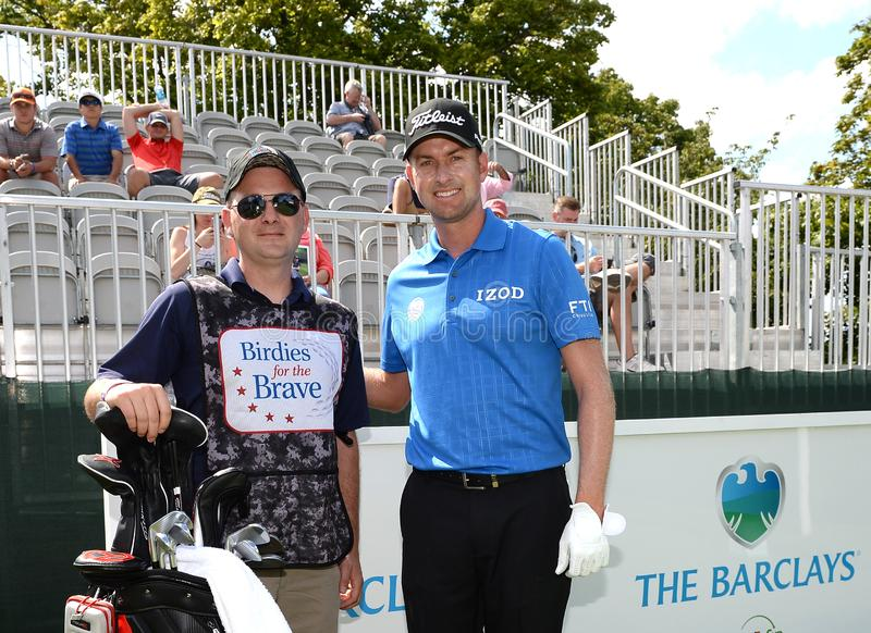 Webb Simpson bij 2015 Barclays pro-Am hield in Plainfield Country Club in Edison, New Jersey stock foto's