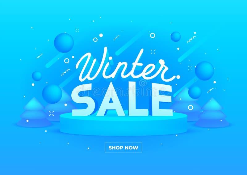 Webbanner für den Winterverkauf auf blauem Hintergrund 3D-Tiefe und realistische Festivitäten vektor abbildung