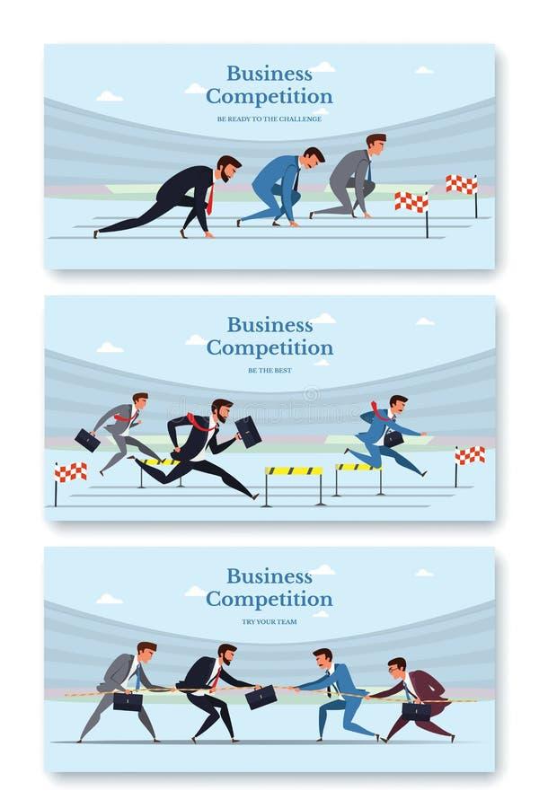 Webbanner-Vorlagen für den Wettbewerb im Unternehmen isoliert von blauem Hintergrund stock abbildung