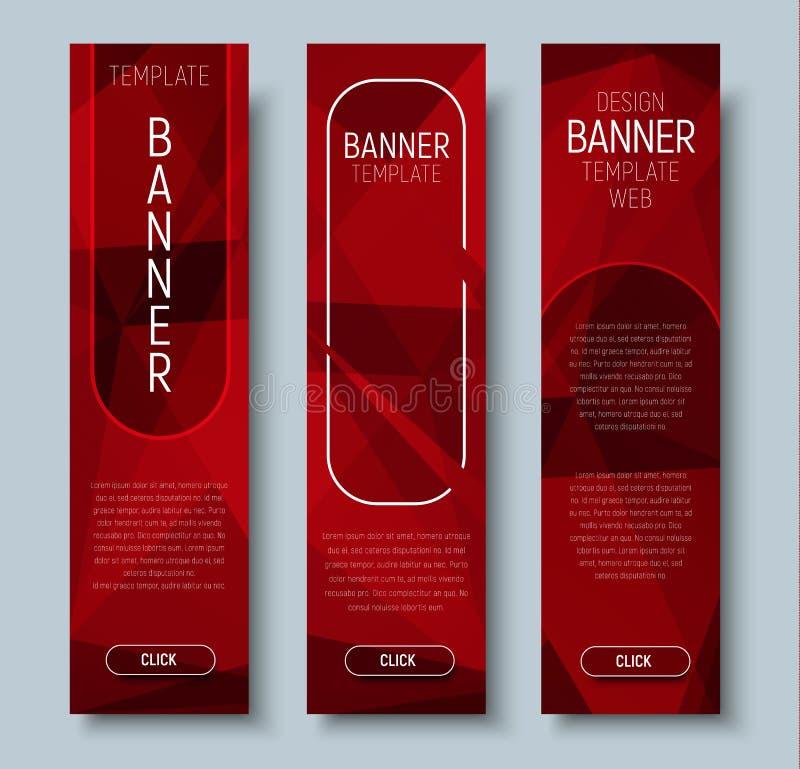 Webbanners met abstracte veelhoekige rode achtergrond royalty-vrije illustratie