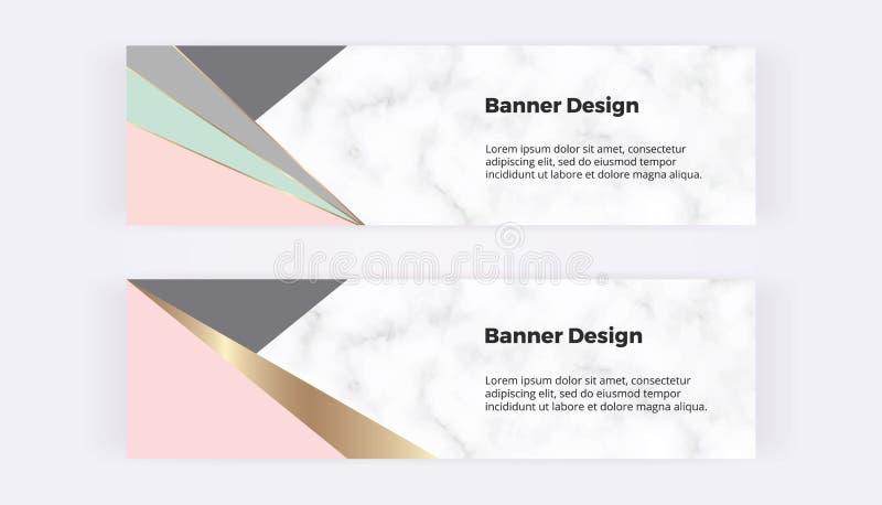 Webbanners met geometrische vormen, driehoeken op de marmeren textuur Moderne malplaatjes voor uitnodiging, embleem, kaart, vlieg royalty-vrije illustratie