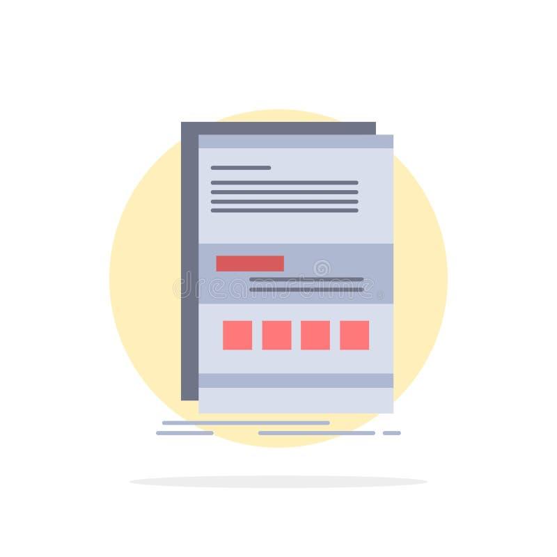 Webbläsare som är dynamisk, internet, sida, svars- plan färgsymbolsvektor royaltyfri illustrationer
