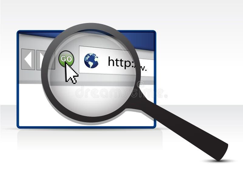 Webbläsare under ett förstoringsexponeringsglas royaltyfri illustrationer