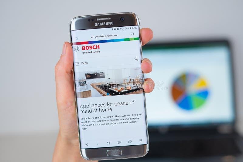 Webbplats av det Bosch företaget på telefonskärmen fotografering för bildbyråer