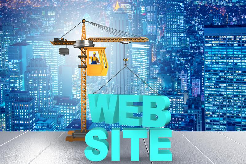 Webbplatskonstruktionsbegreppet med kranen och bokstäver stock illustrationer