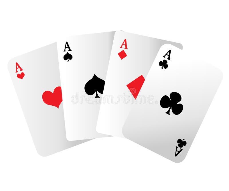 Webbplatssida- och för mobilapp-design beståndsdel En vinnande pokerhand av fyra överdängare som spelar kort, passar på vit stock illustrationer