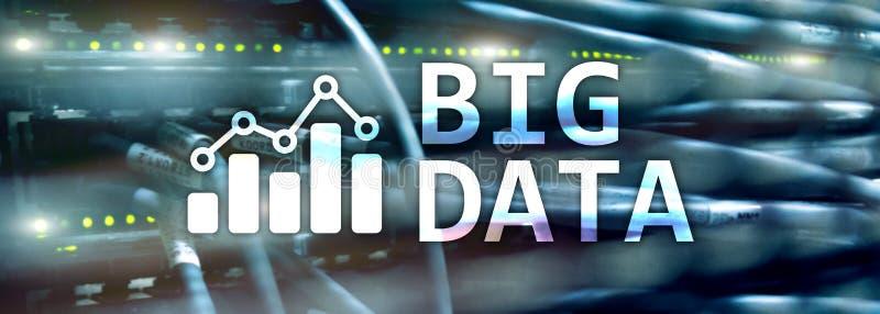 Webbplatstitelrad Stora data som analyserar serveren Internet och teknologi royaltyfri illustrationer
