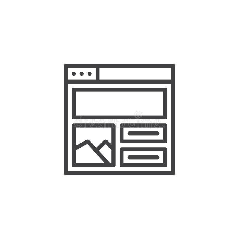 Webbrowser met het overzichtspictogram van het inhoudsontwerp vector illustratie