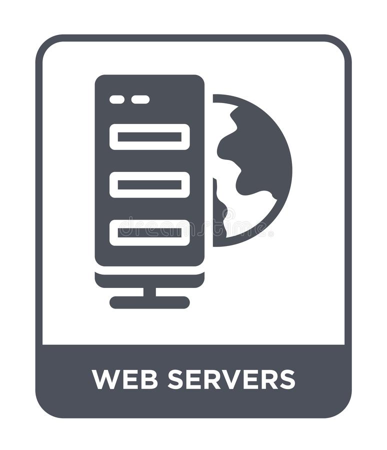 webbserversymbol i moderiktig designstil webbserversymbol som isoleras på vit bakgrund modern webbservervektorsymbol som är enkel royaltyfri illustrationer