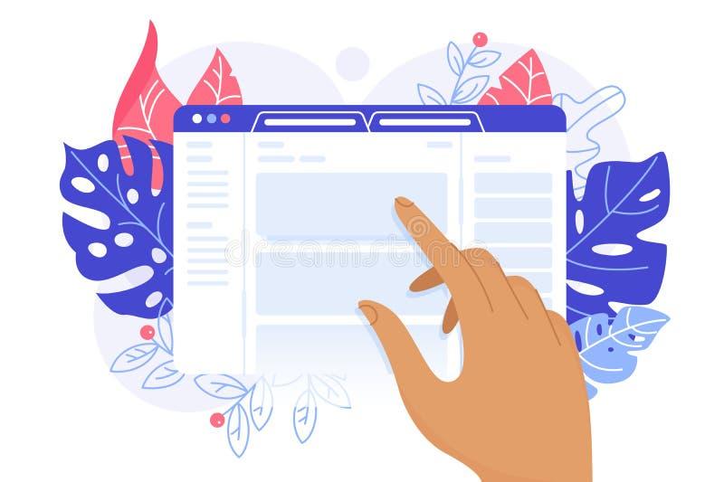 Webbsida på pekskärmen stock illustrationer