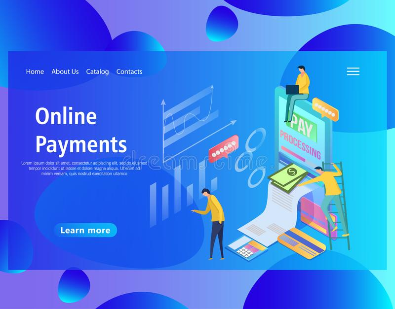 Webbsidadesignmall av isometriska online-betalningar, mobil bank royaltyfri illustrationer