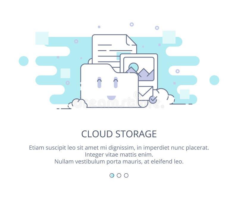 Webbsidadesignmall av molnberäkning och lagring Datalagring, moln som beräknar, vara värd för webbplatser Plan orientering vektor illustrationer