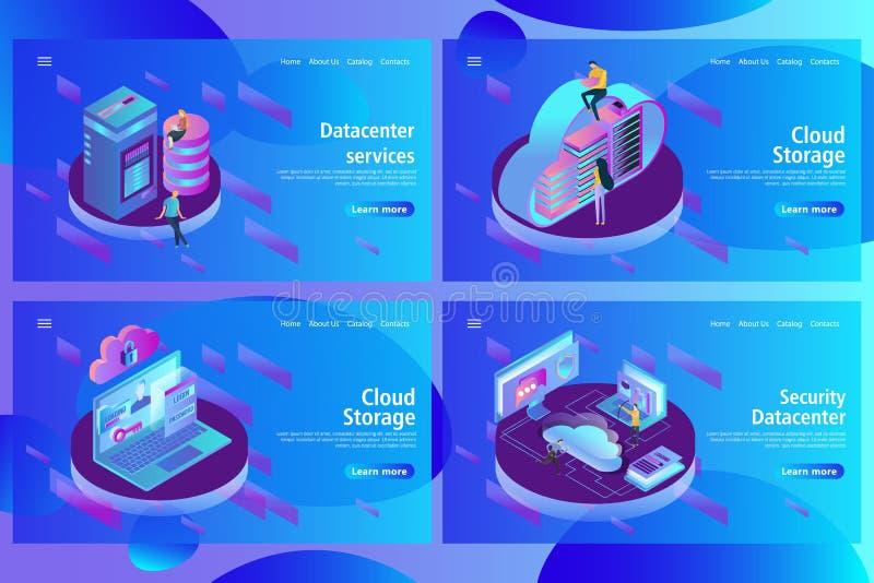 Webbsidadesignmall för att vara värd och datorhallen, stora data - bearbeta stock illustrationer