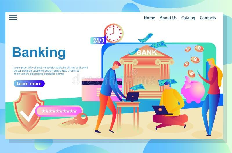 Webbsidadesignmall för internetbankrörelsen och ekonomiska institutioner vektor illustrationer