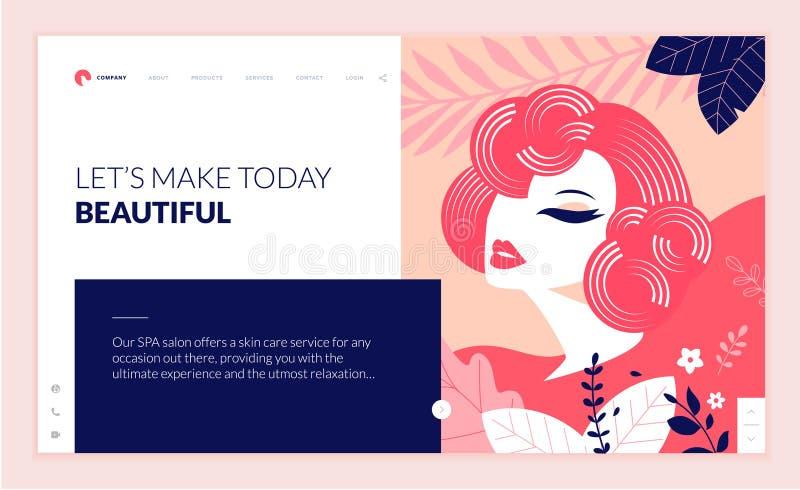 Webbsidadesignmall för skönhet, brunnsort, wellness, naturprodukter, skönhetsmedel, kroppomsorg, sunt liv vektor illustrationer